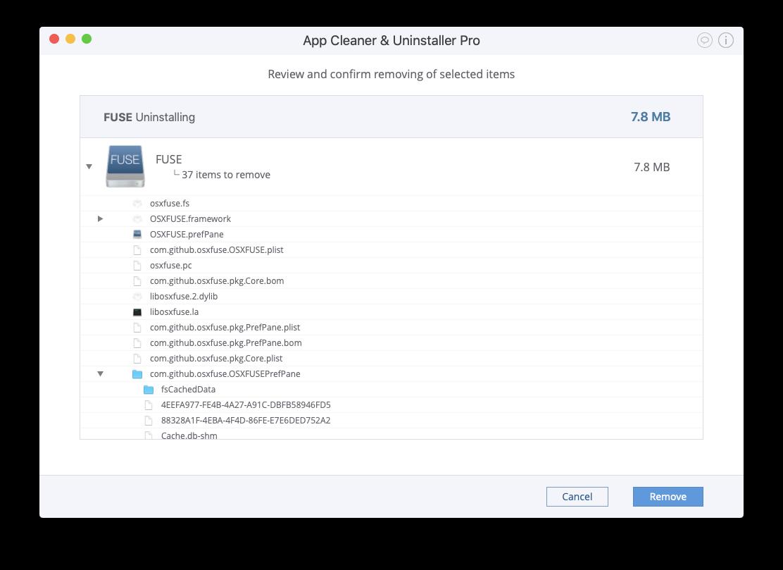 remove OSXFUSE on mac