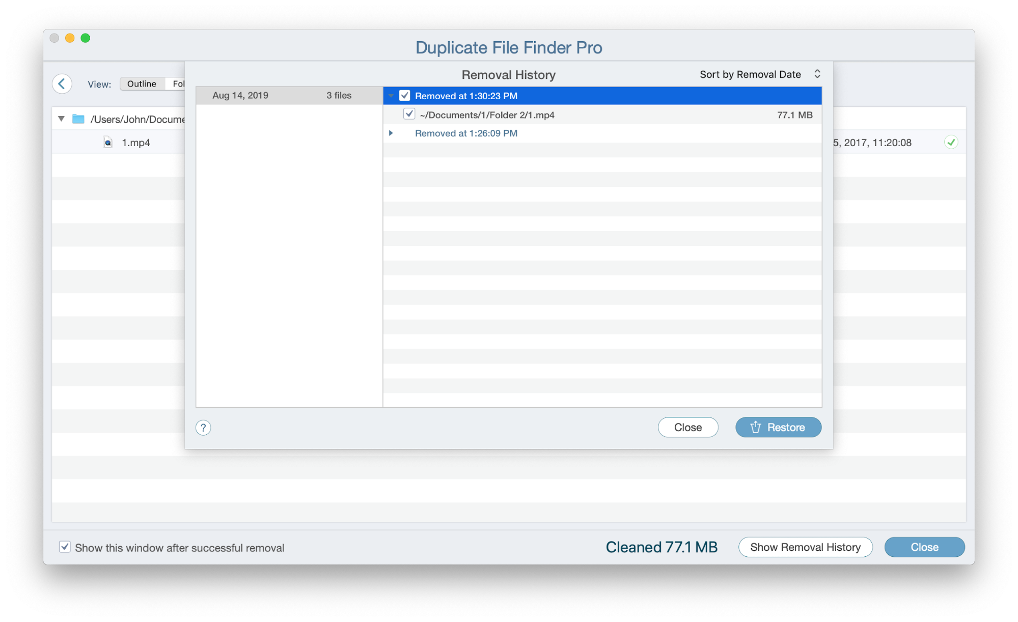 restore removed files by Duplicate File Finder