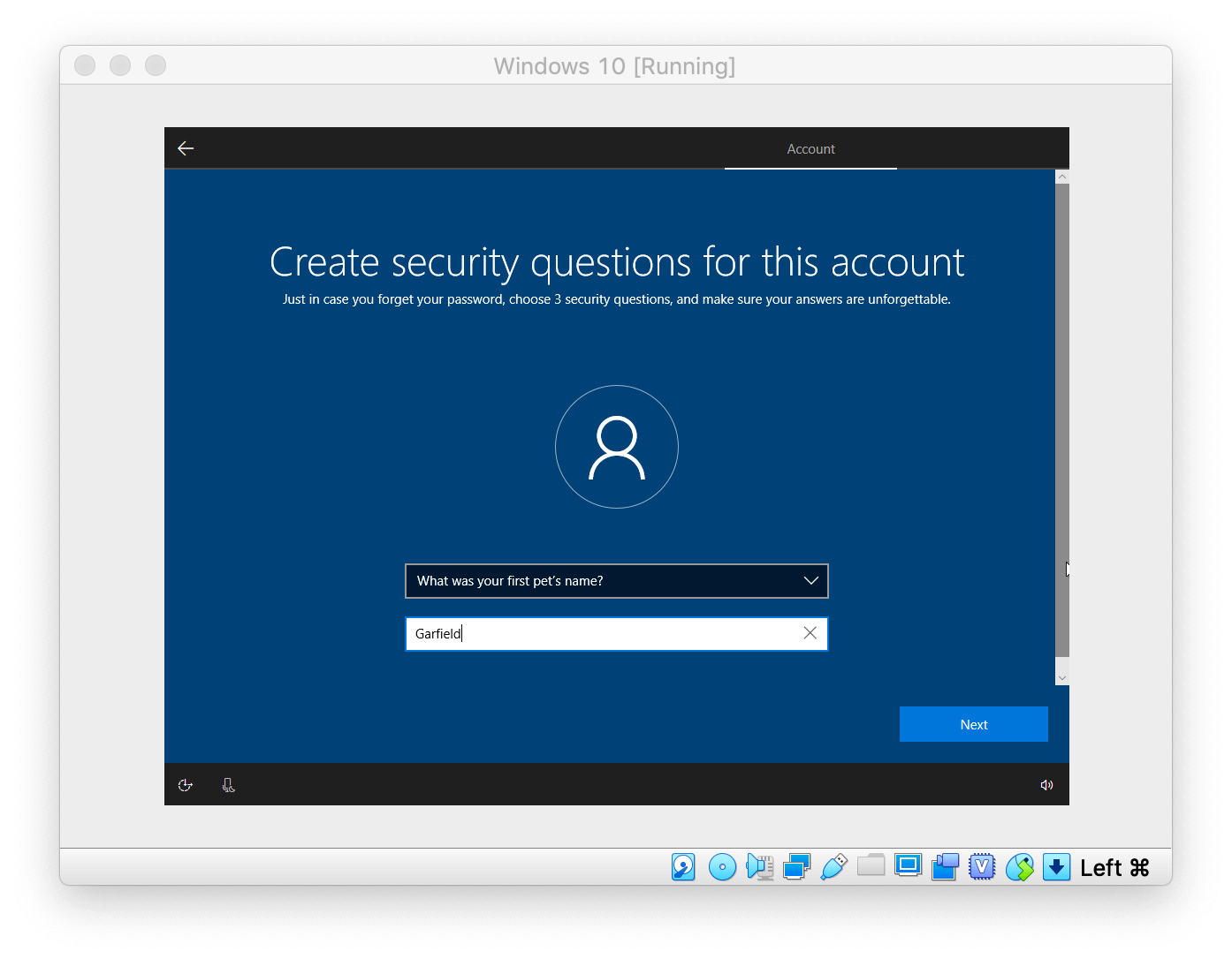 Windows Setup asking to create security questions