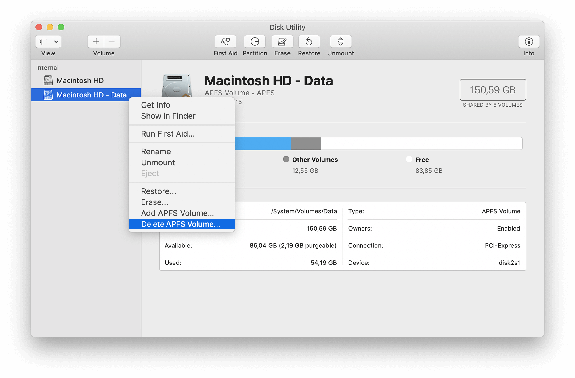 Delete APFS Volume command selected in Disk Utility