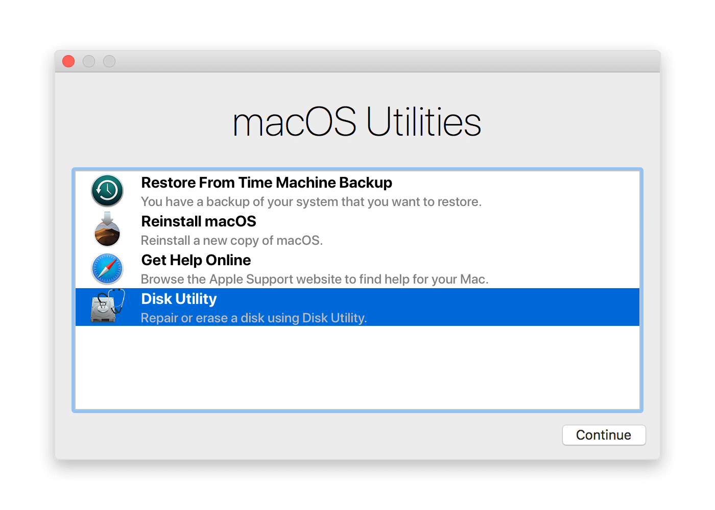 Disk Utility selected in MacOS Utilities window