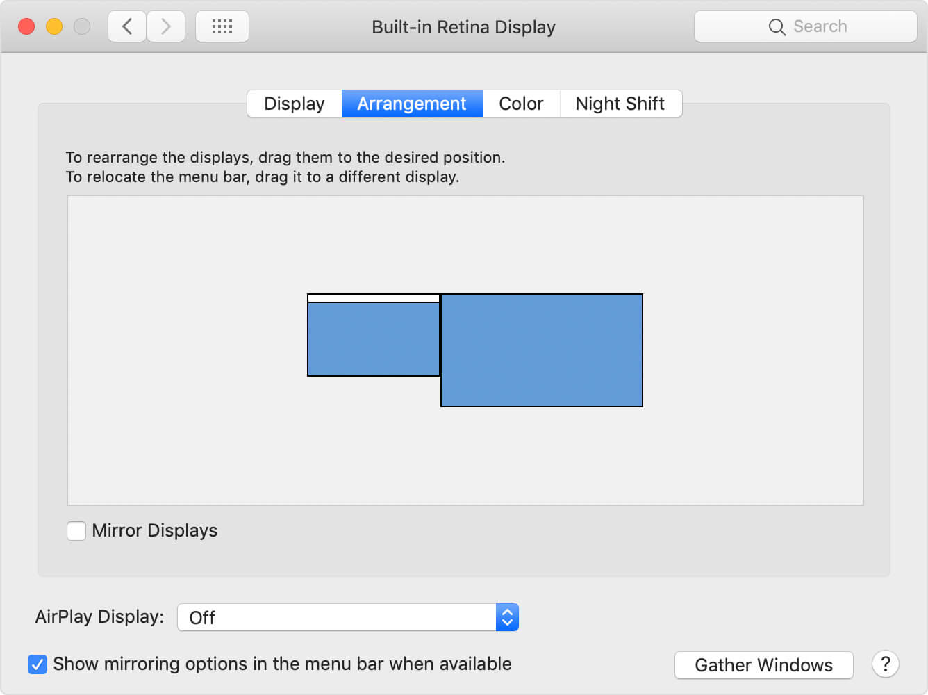 System Preferences window - Arrangement tab