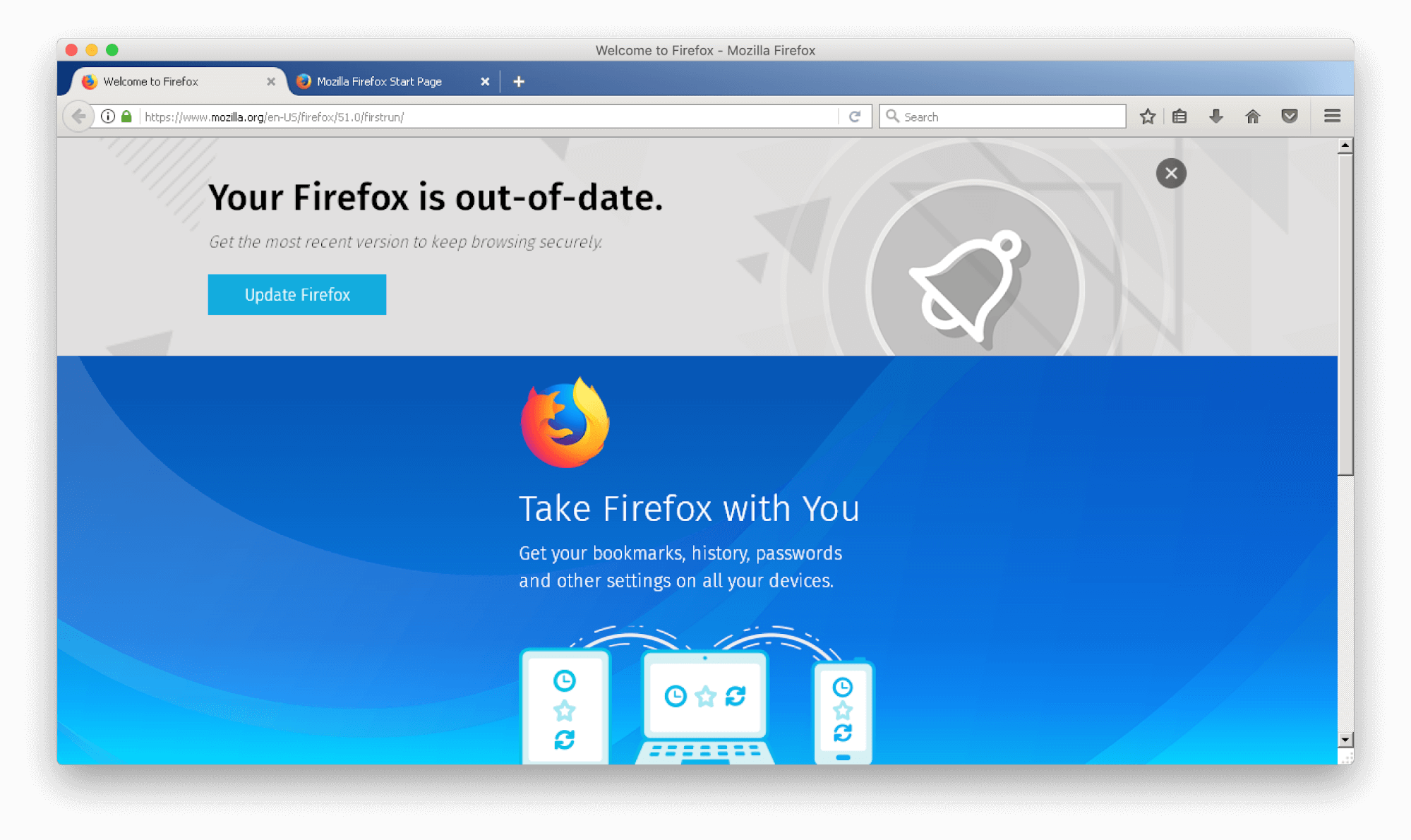 Firefox start window