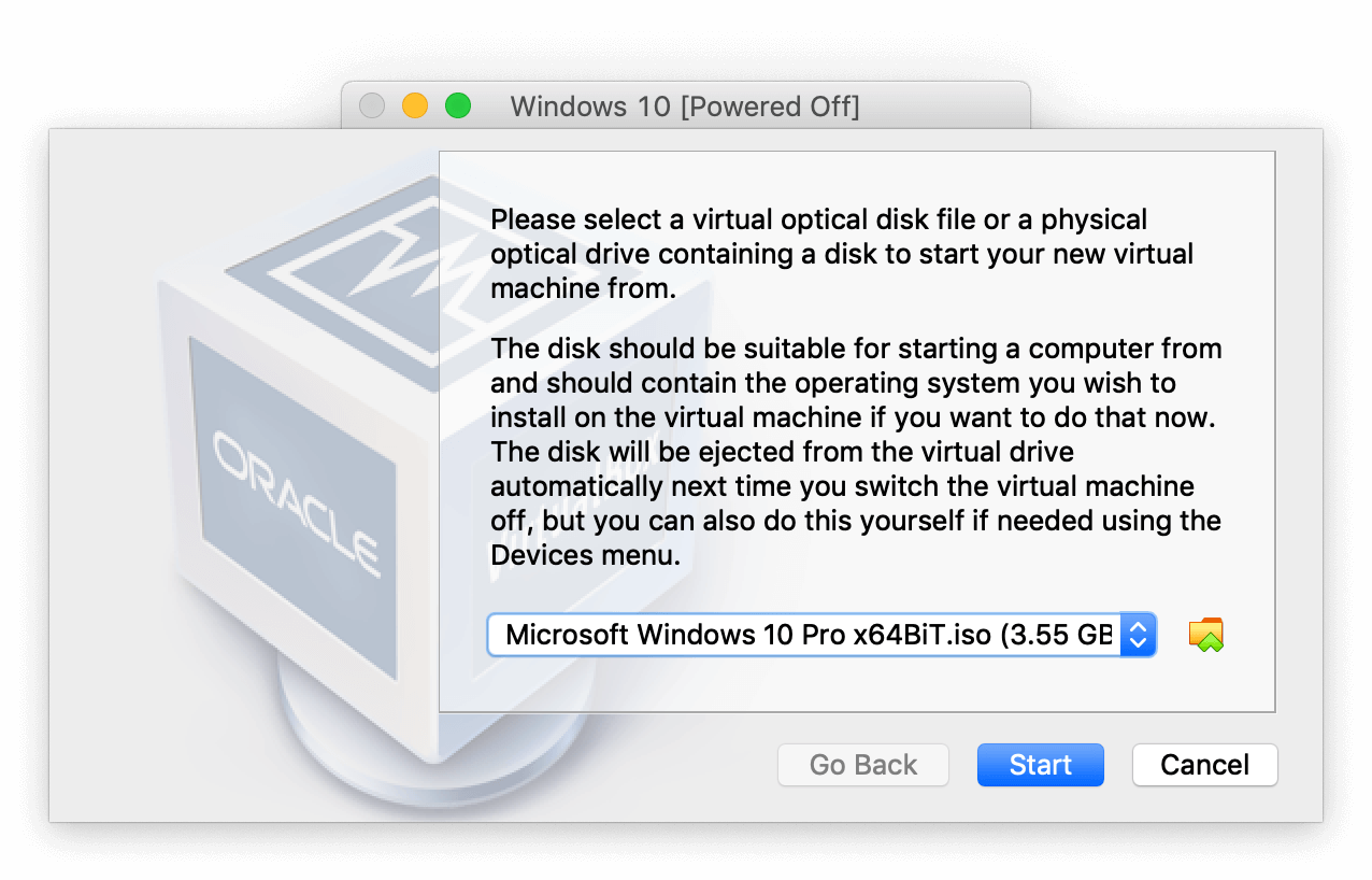 VirtualBox Manager asking to select the Windows ISO file