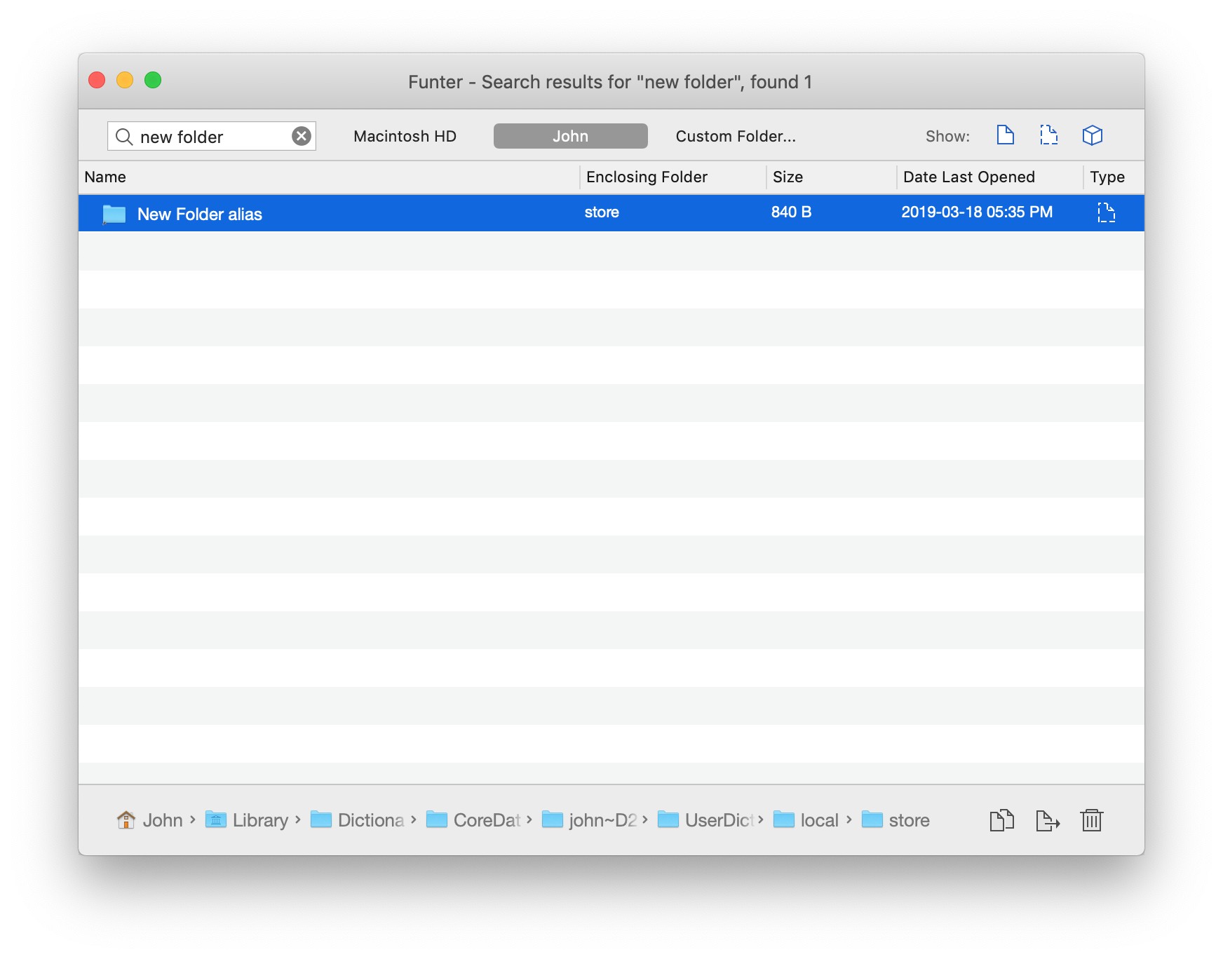 New folder alias files in Funter