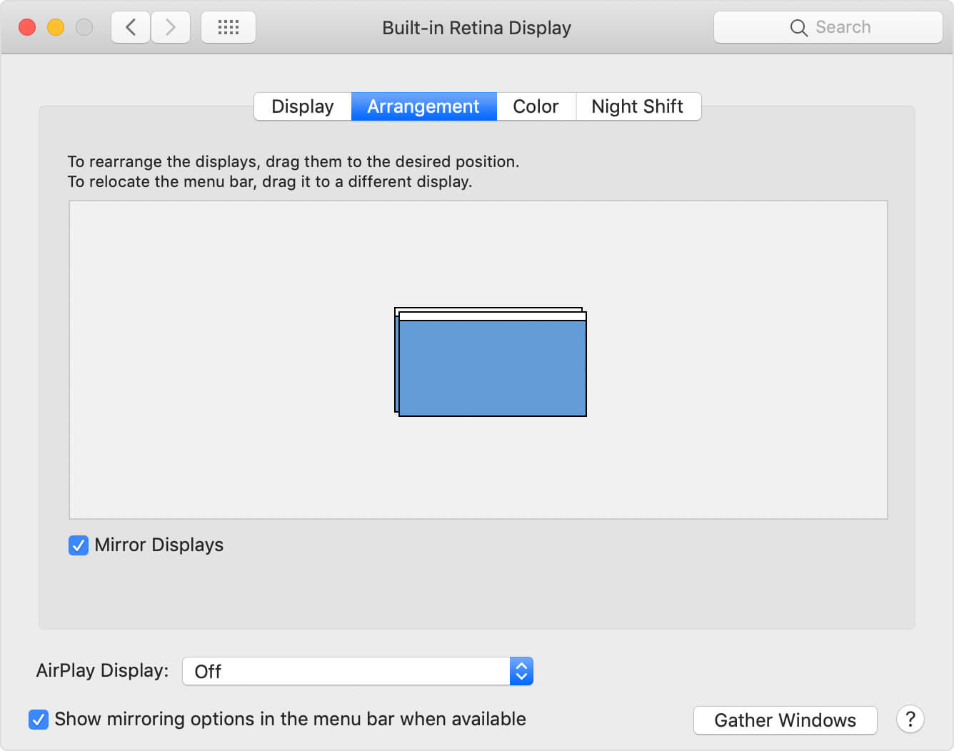 System Preferences window - Arrangement tab - mirror displays