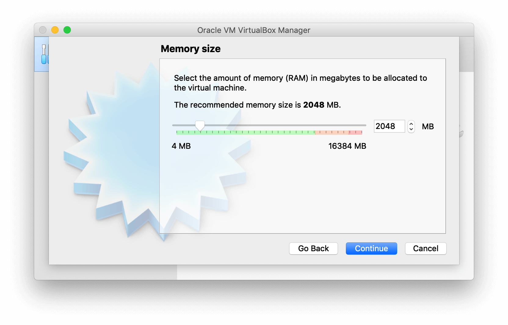 VirtualBox Manager asking to select memory size
