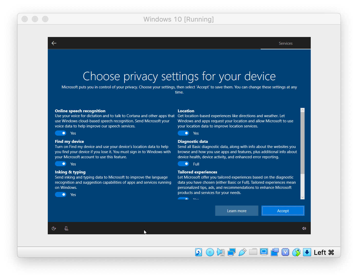Windows Setup asking to choose the privacy settings