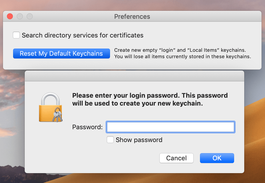 Keychain preferences window - new password