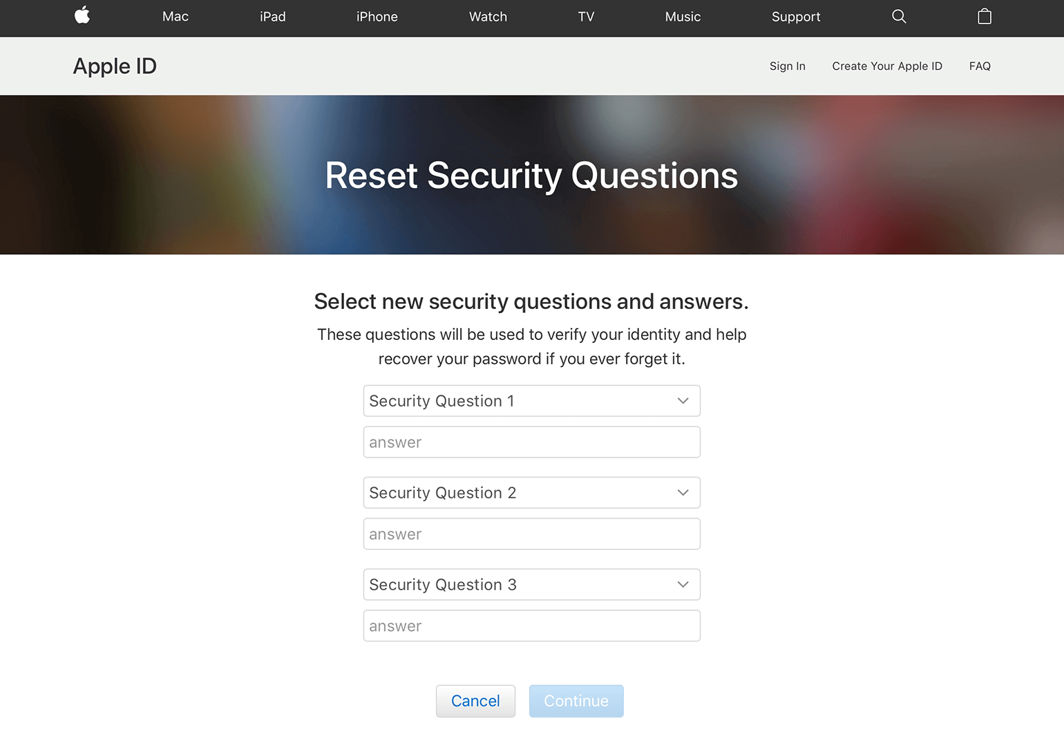 reset security questions
