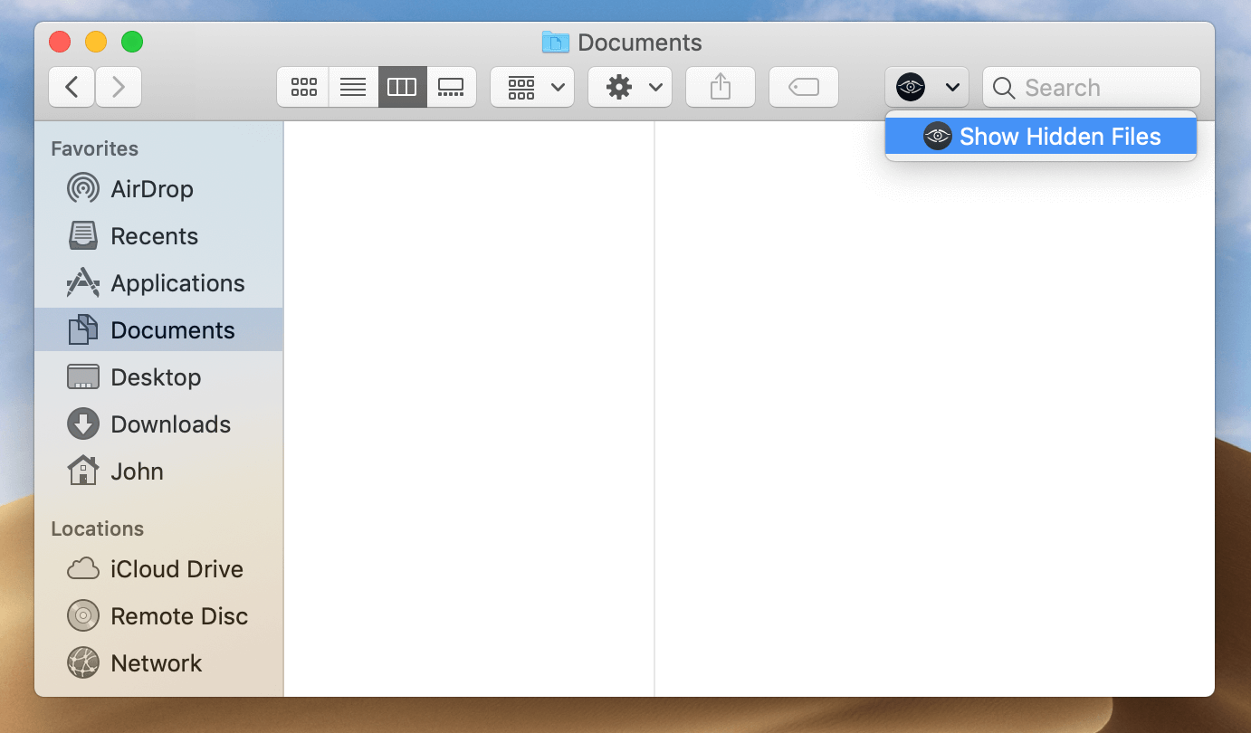 Documents folder in Finder with no files visible