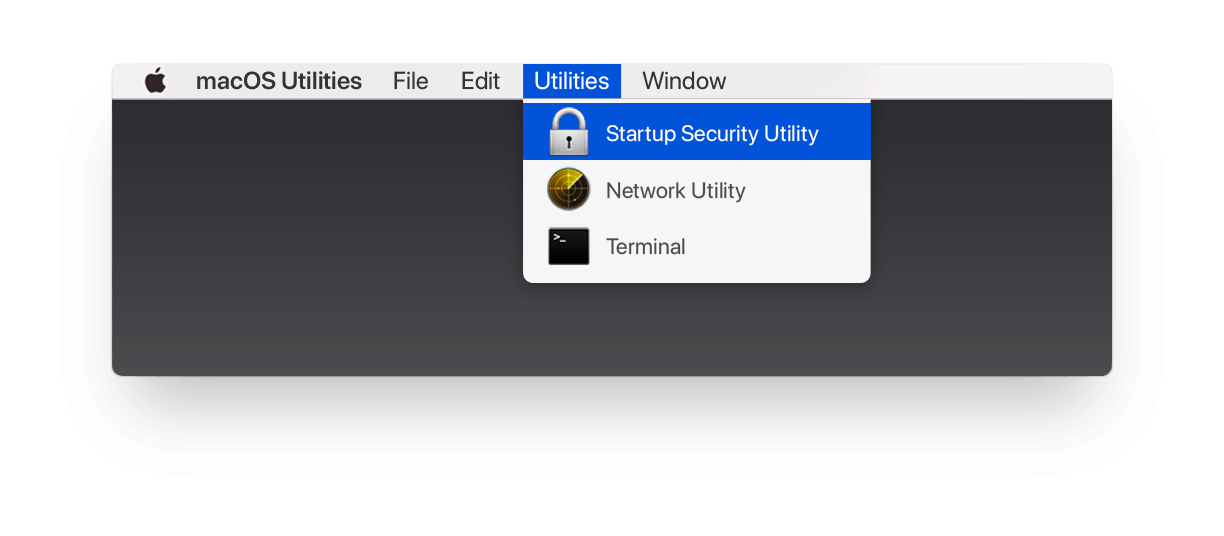 The Startup Security Utility command selected in macOS Utilities