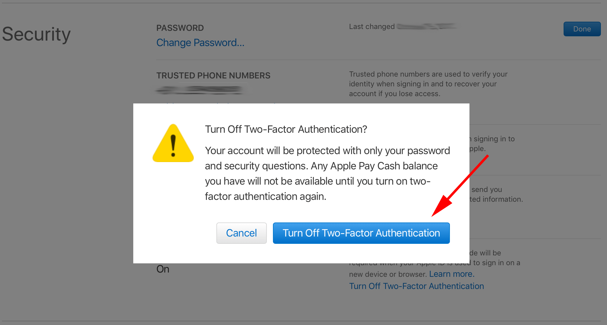 turn off two-factor authentication
