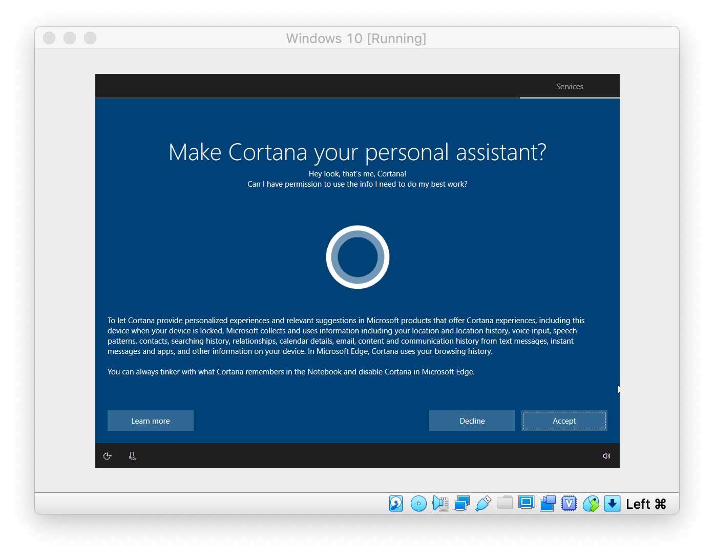 Windows Setup asking to make Cortana your personal assistant