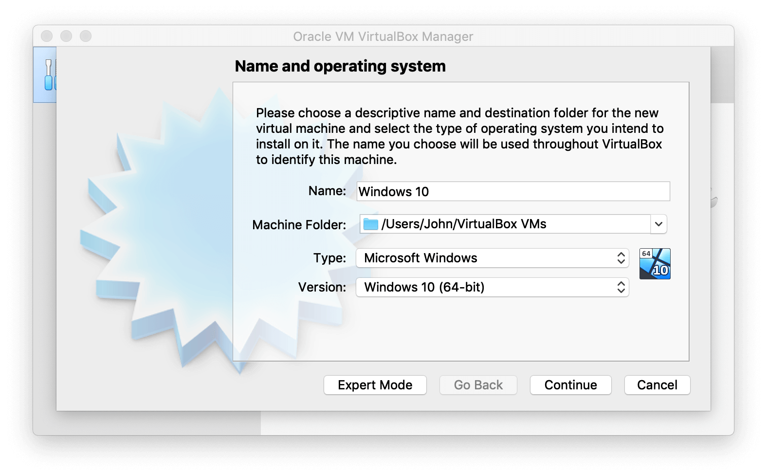 VirtualBox Manager asking to enter name for virtual machine