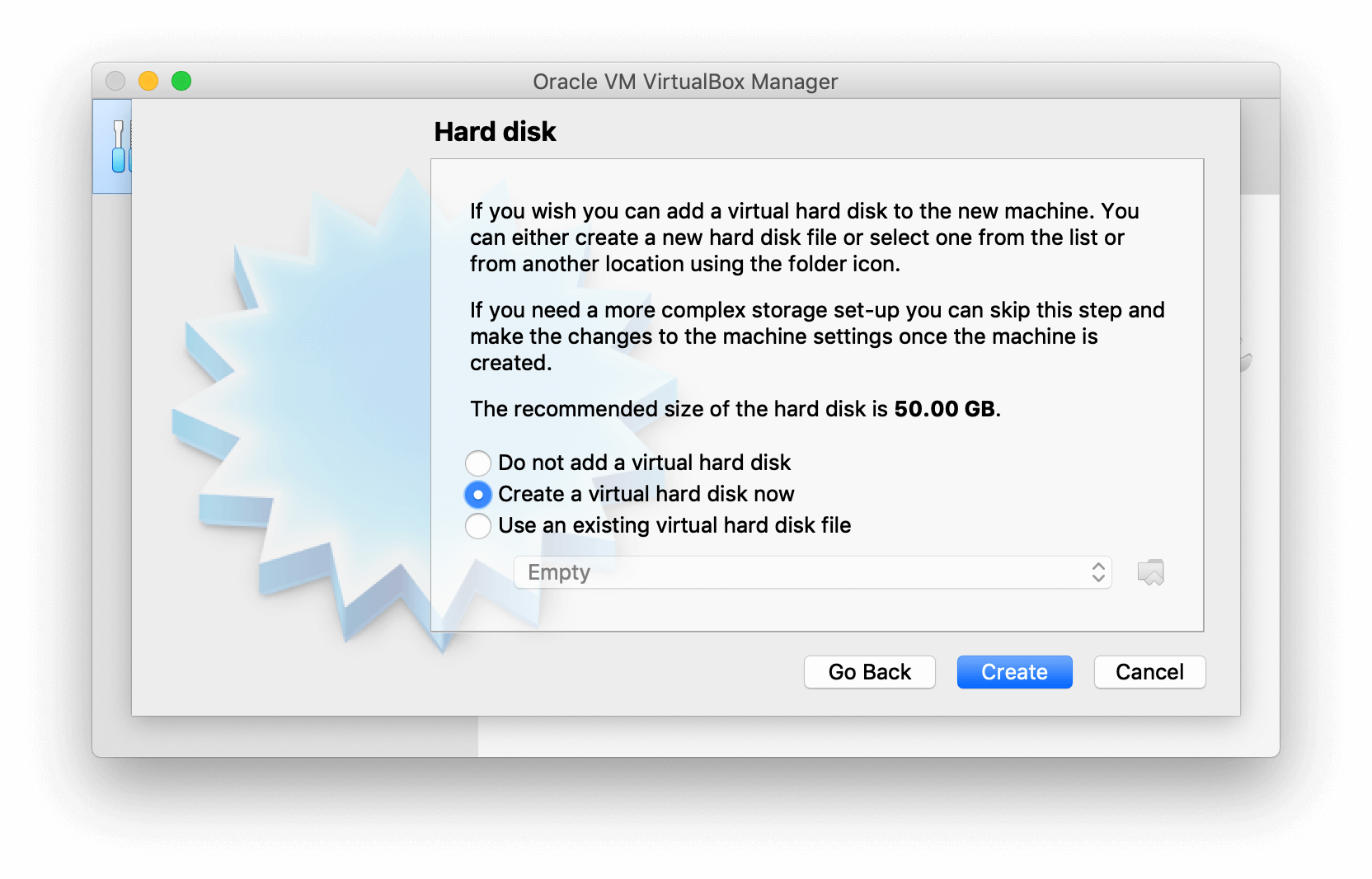VirtualBox Manager showing options for Hard disk