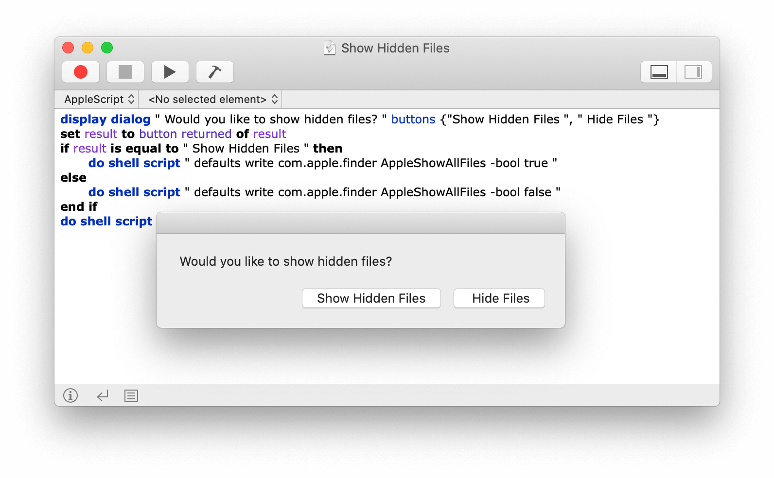 show hidden files mac applescript
