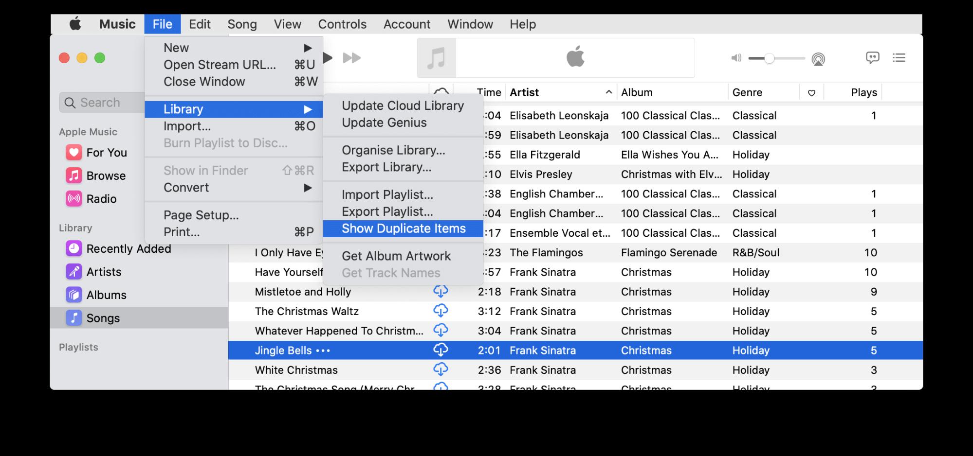 music app - menu - option to show duplicate items