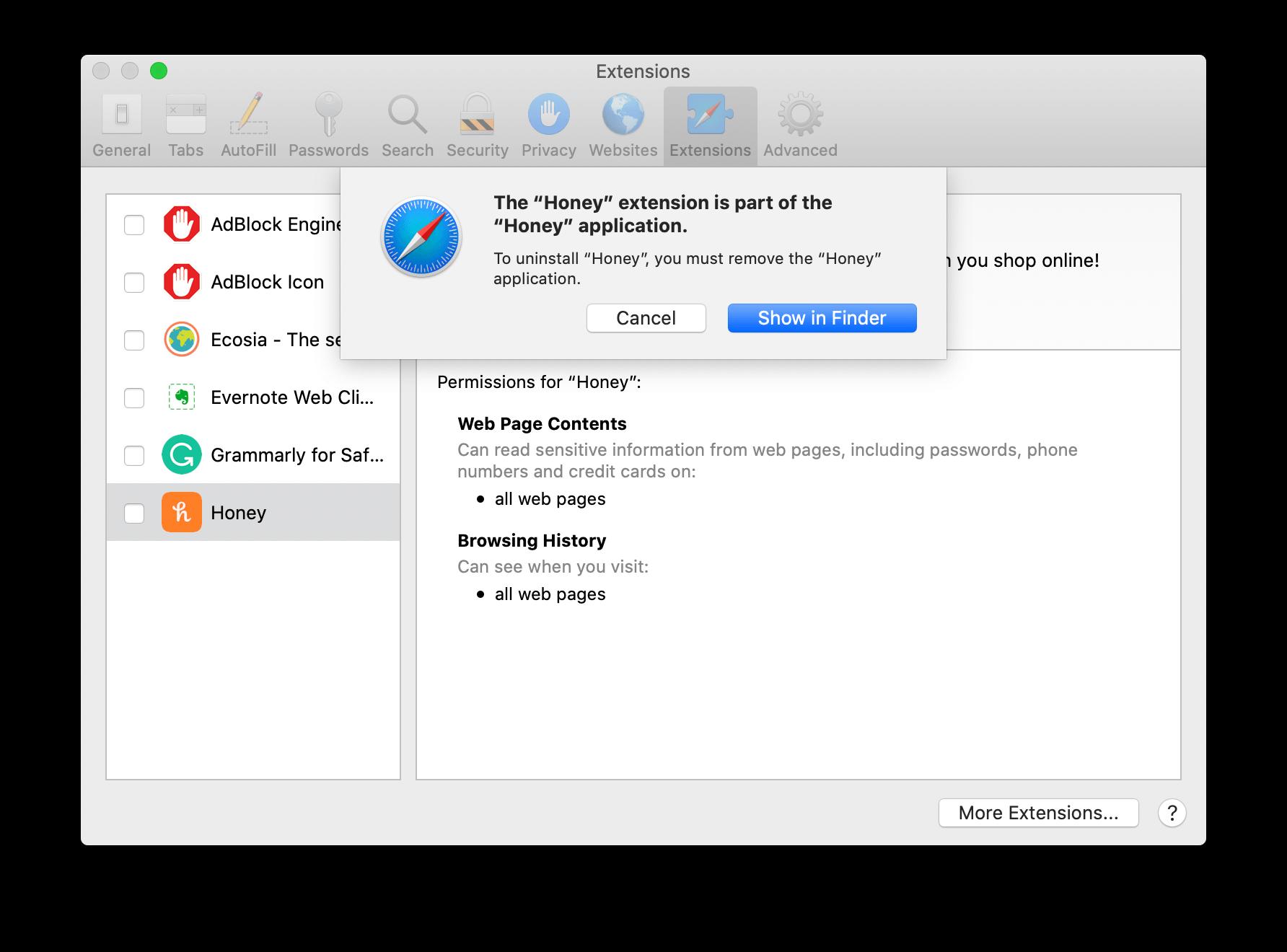 Safari notification window to uninstall Honey application
