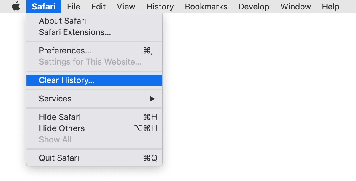 how to clear history on safari