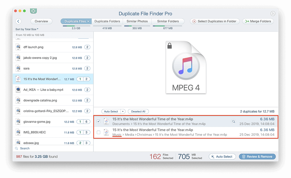 never select duplicate in folders