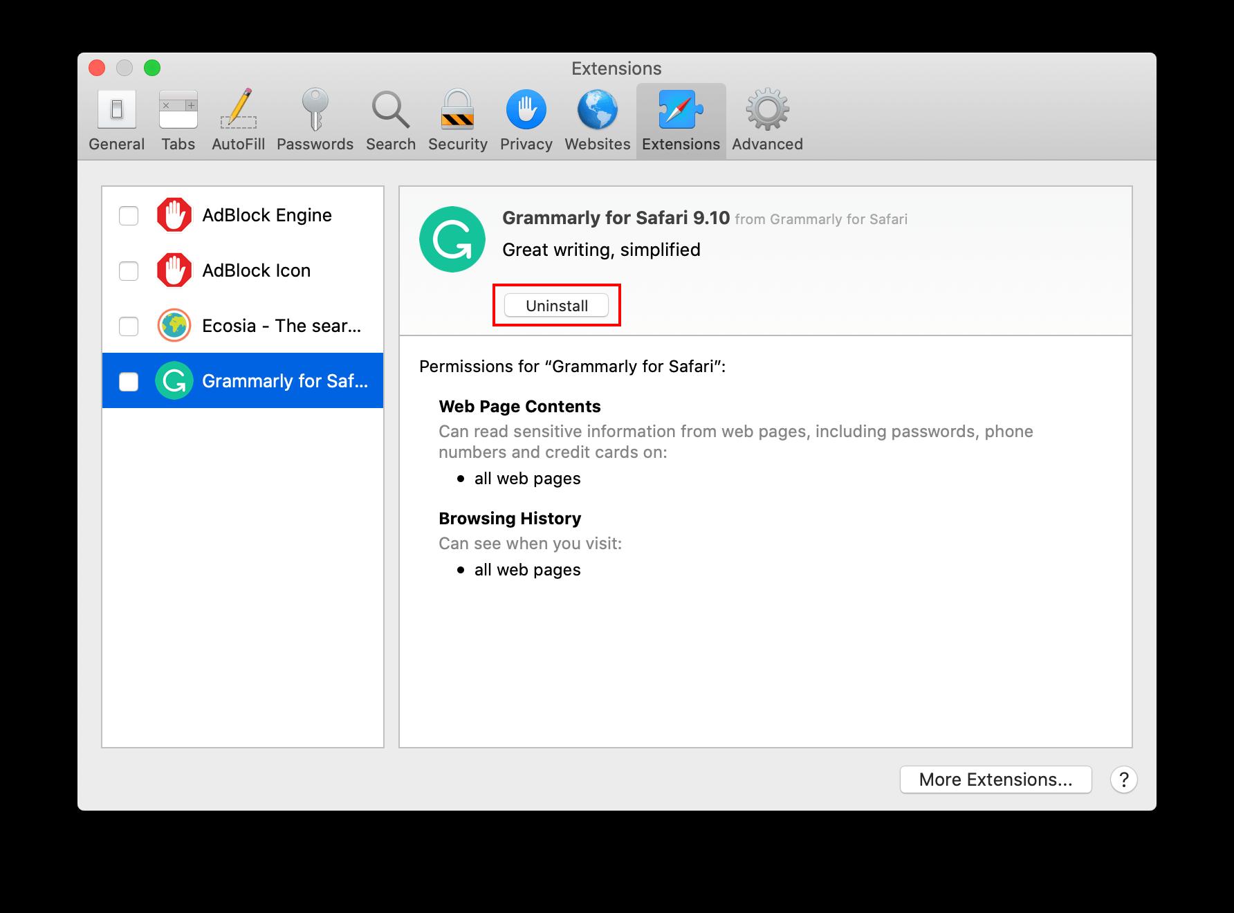 Safari Extensions preferences window