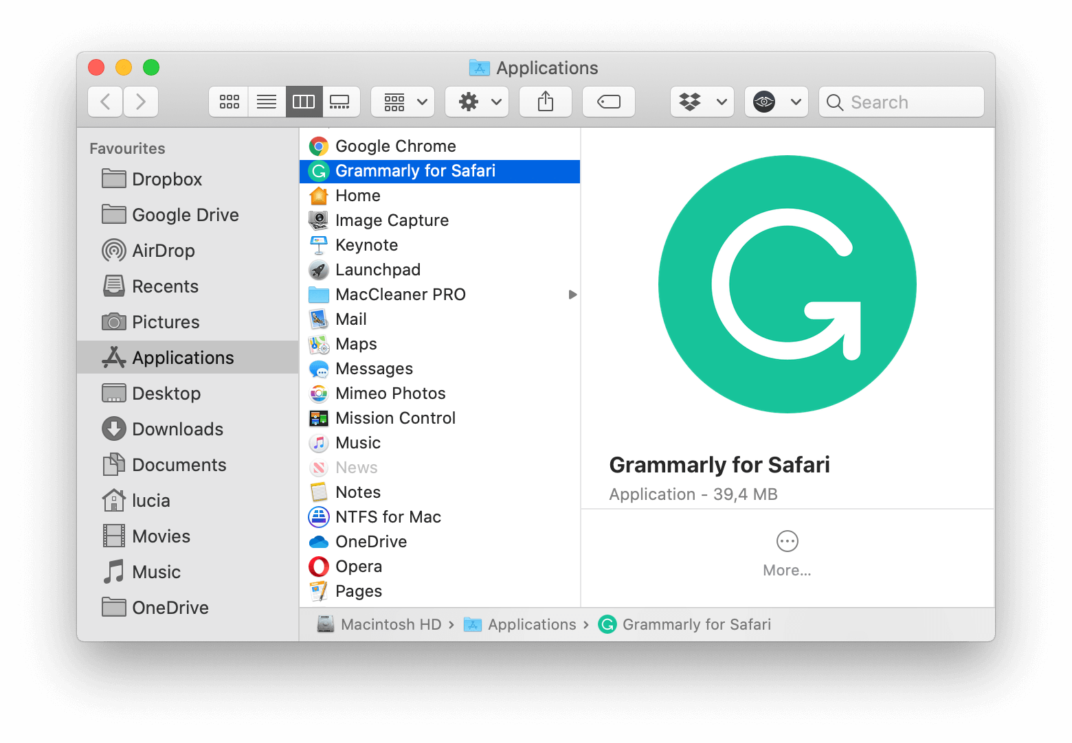 Grammarly for Safari application in Finder