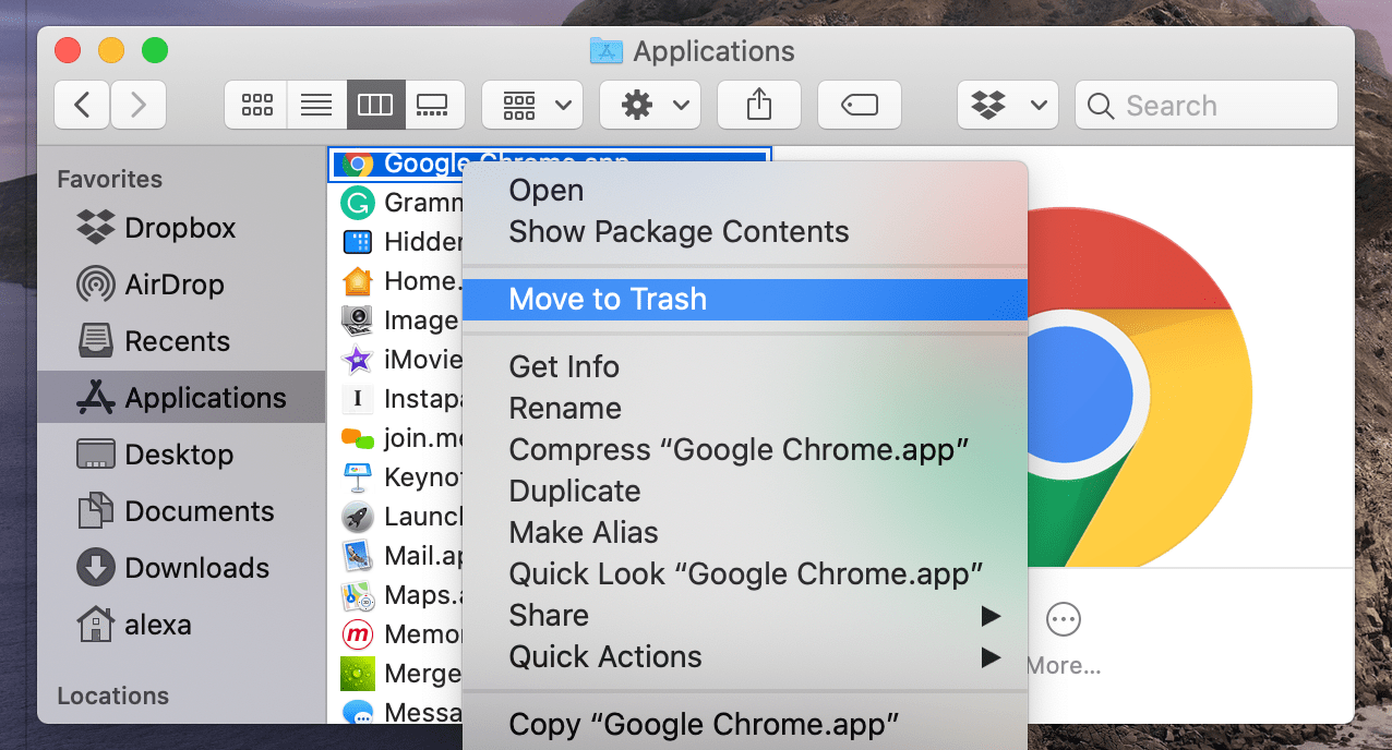 Move to Trash command for Google Chrome in Finder
