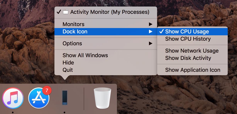 Dock panel - showing CPU usage option in context menu