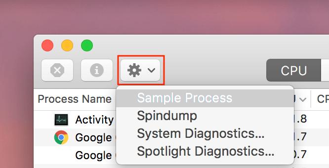 Activity monitor settings option in drop menu
