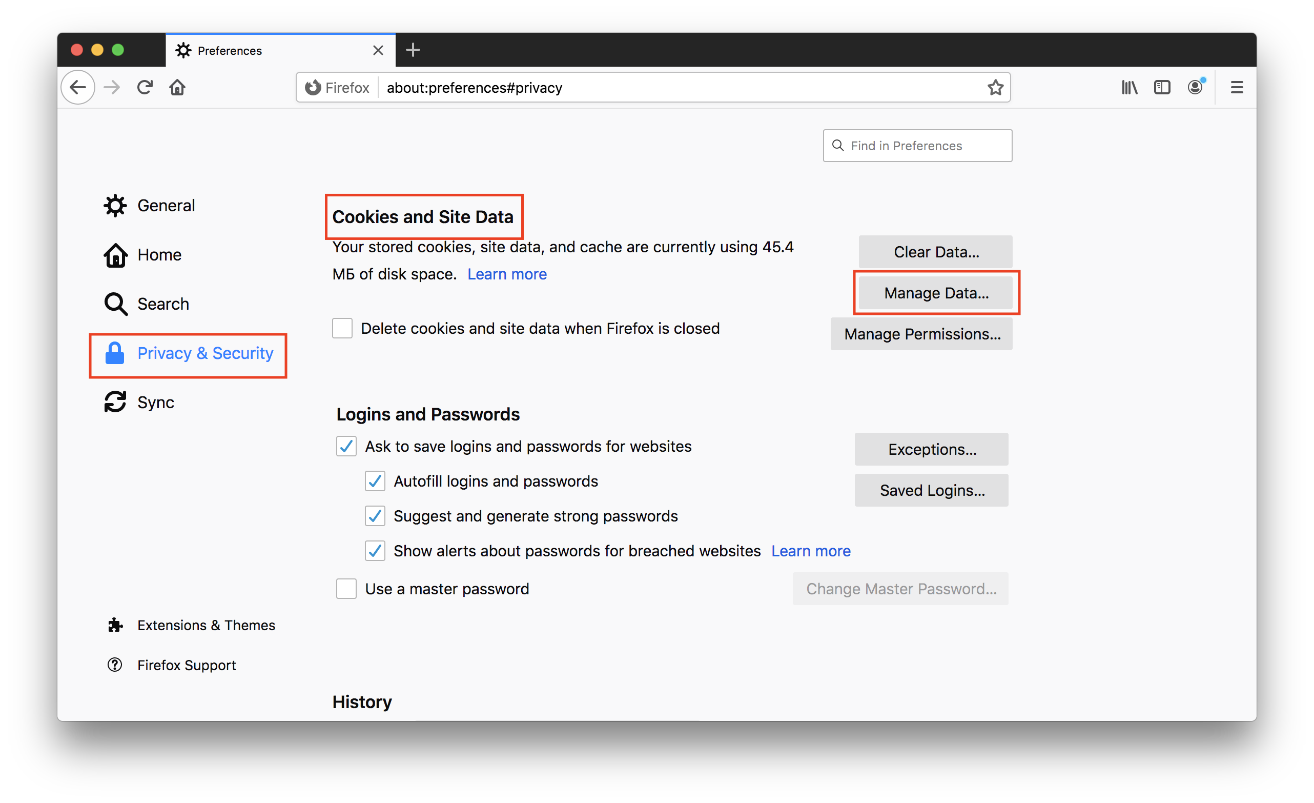 Cookies and Site Data in Firefox preferences window