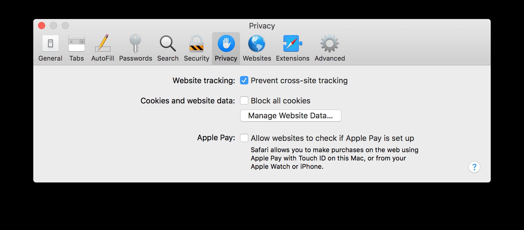 Privacy options in Safari preferences
