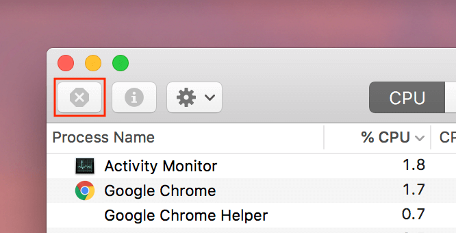 Activity monitor - close icon highlighted in the top