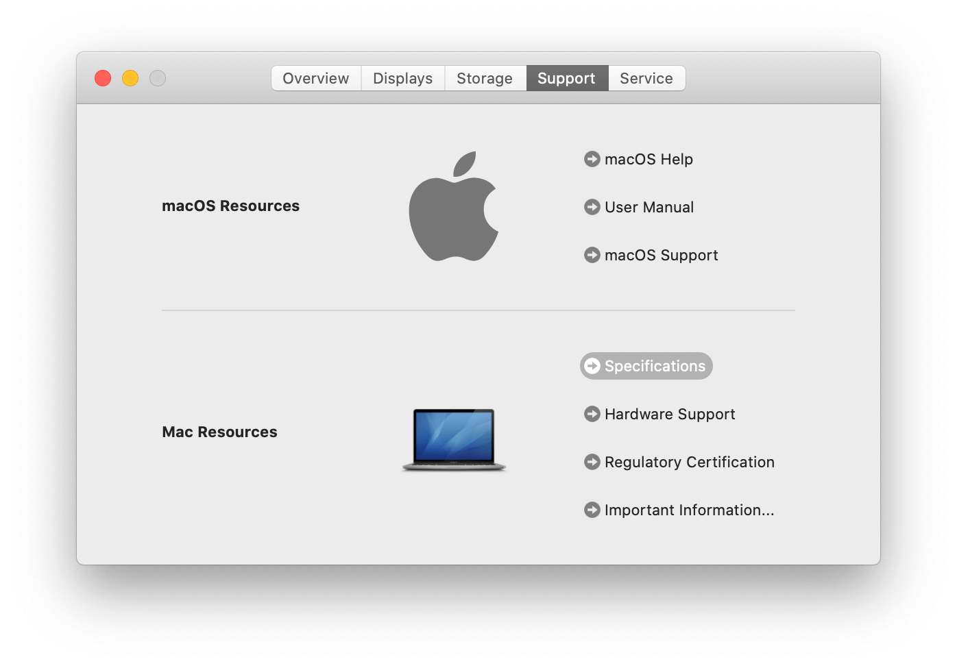 About This Mac window - Support tab