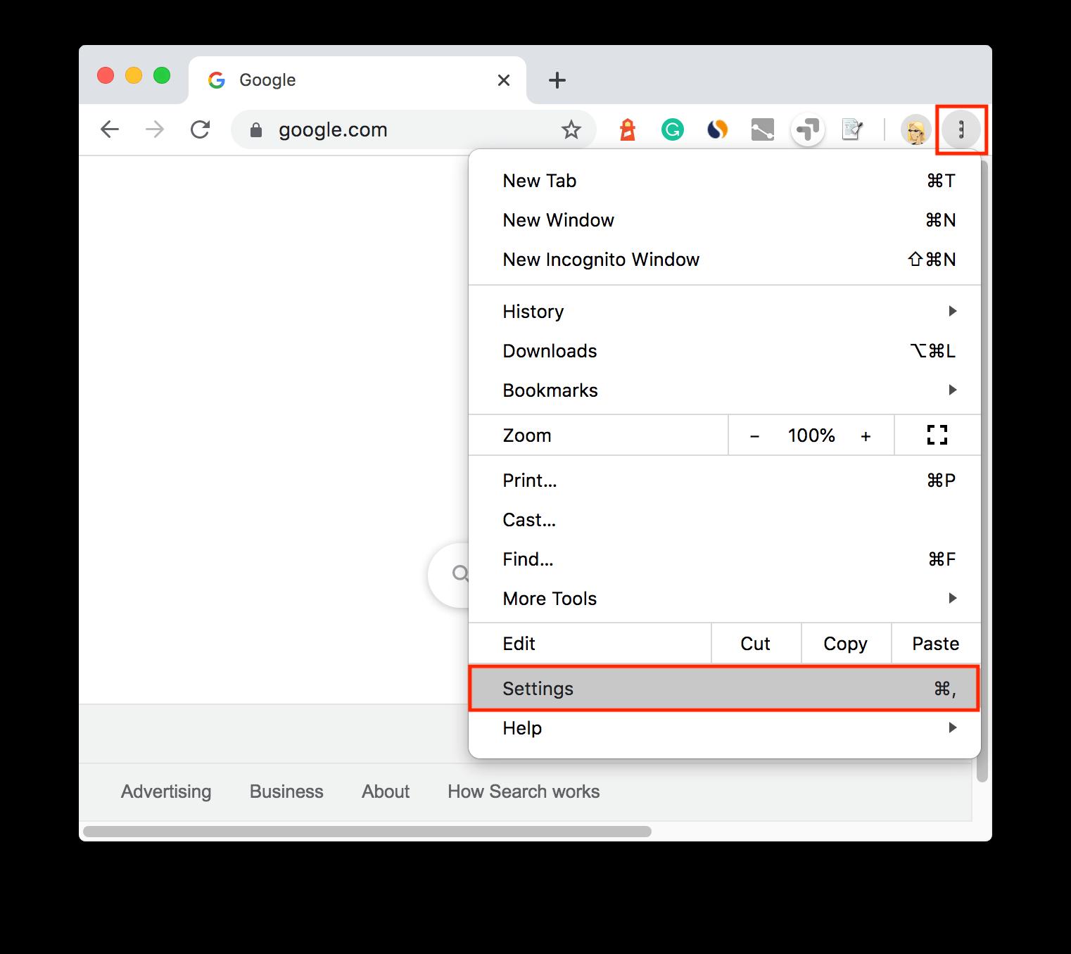 Google Chrome Settings menu command