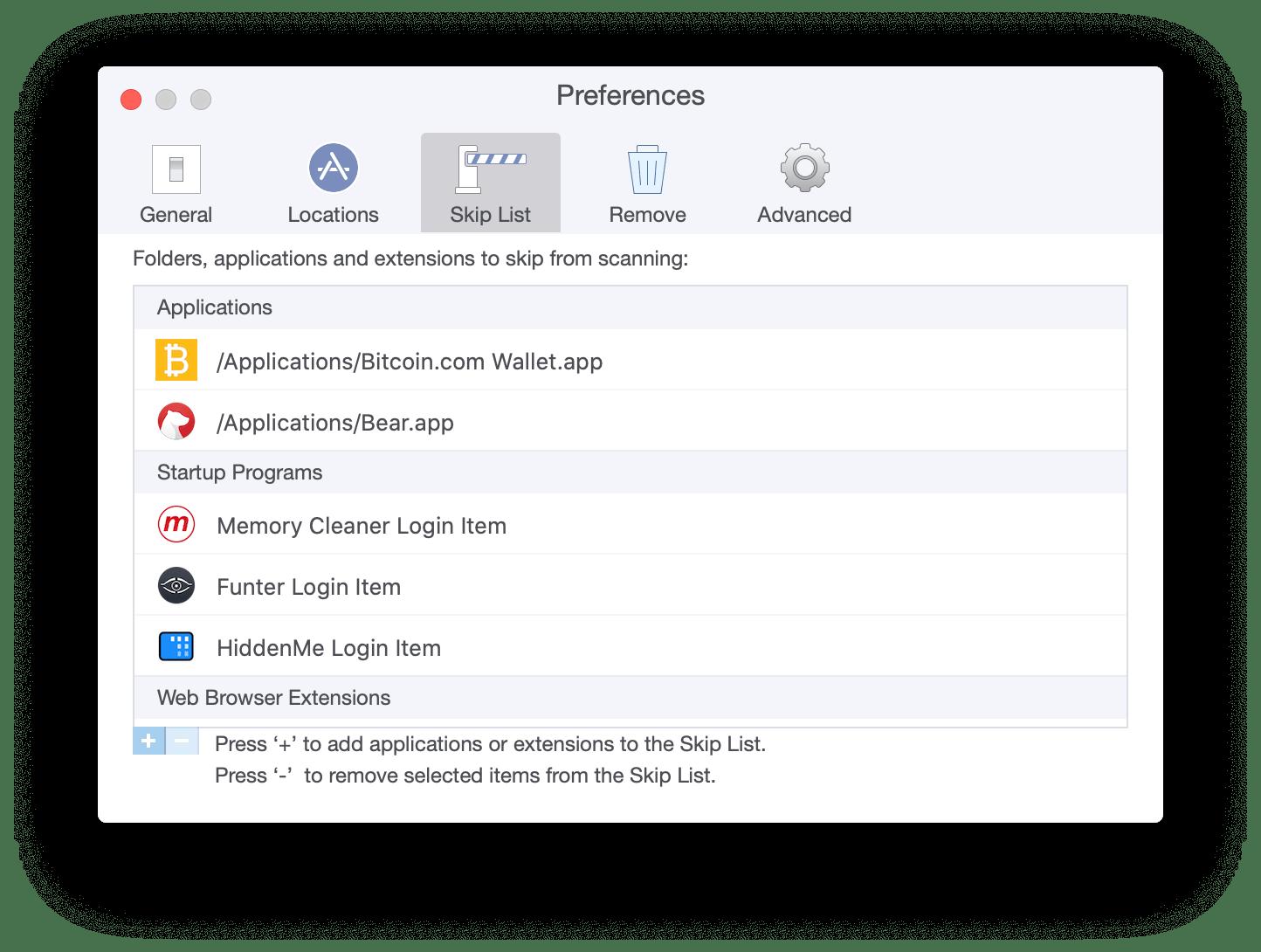 app cleaner uninstaller skip list