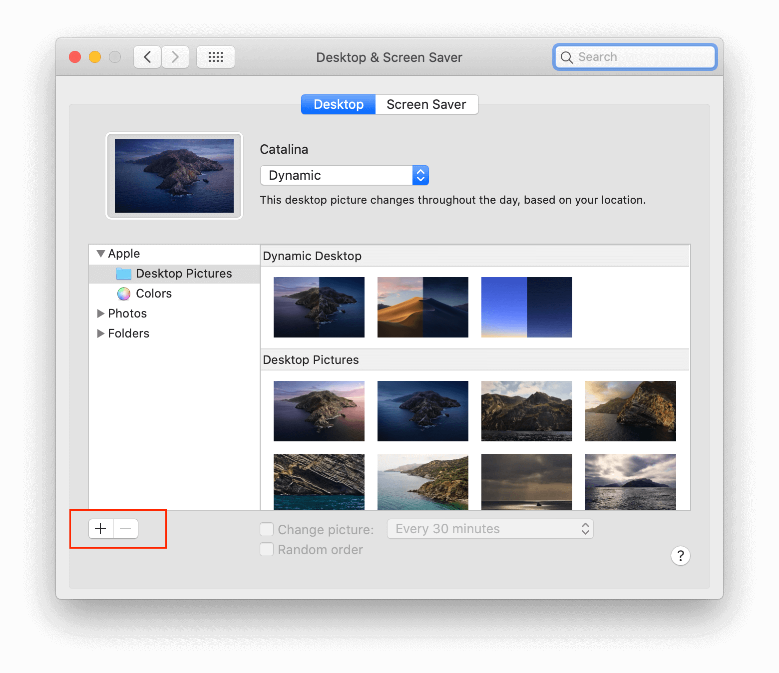 system preferences - desktop pictures with plus button highlighted