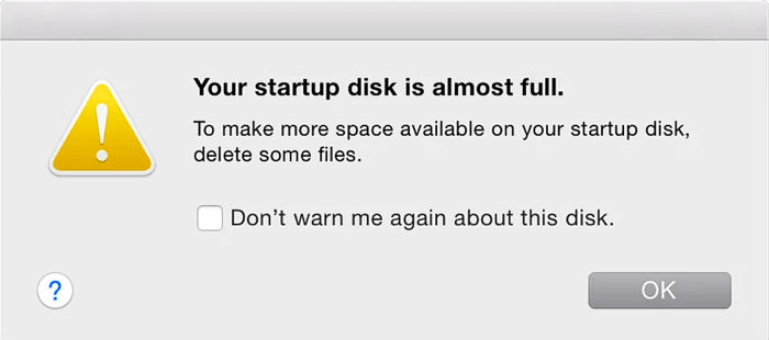 Your startup disk is almost full mac