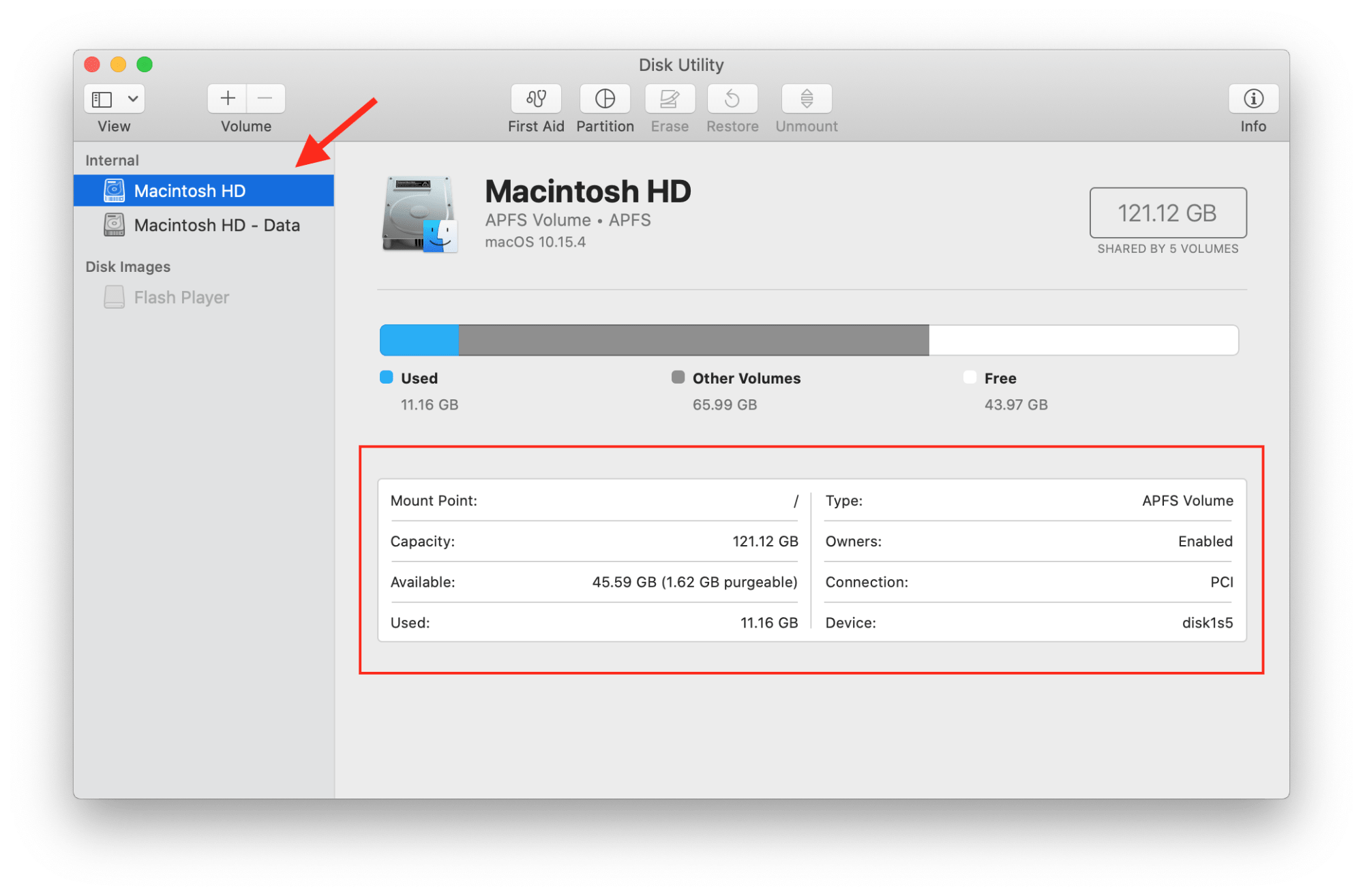 see disk space on mac