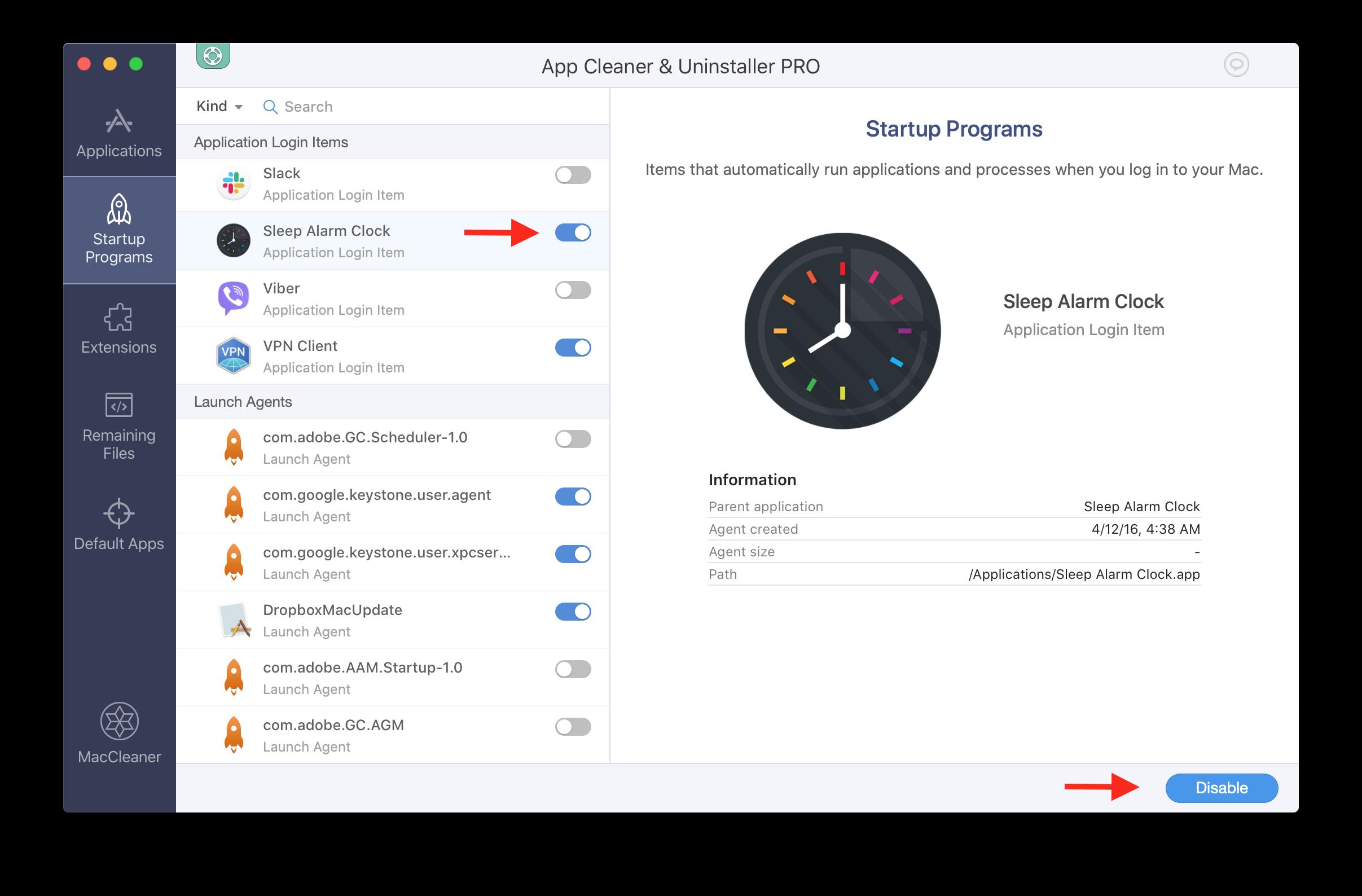App Cleaner & Uninstaller window - startup programs tab
