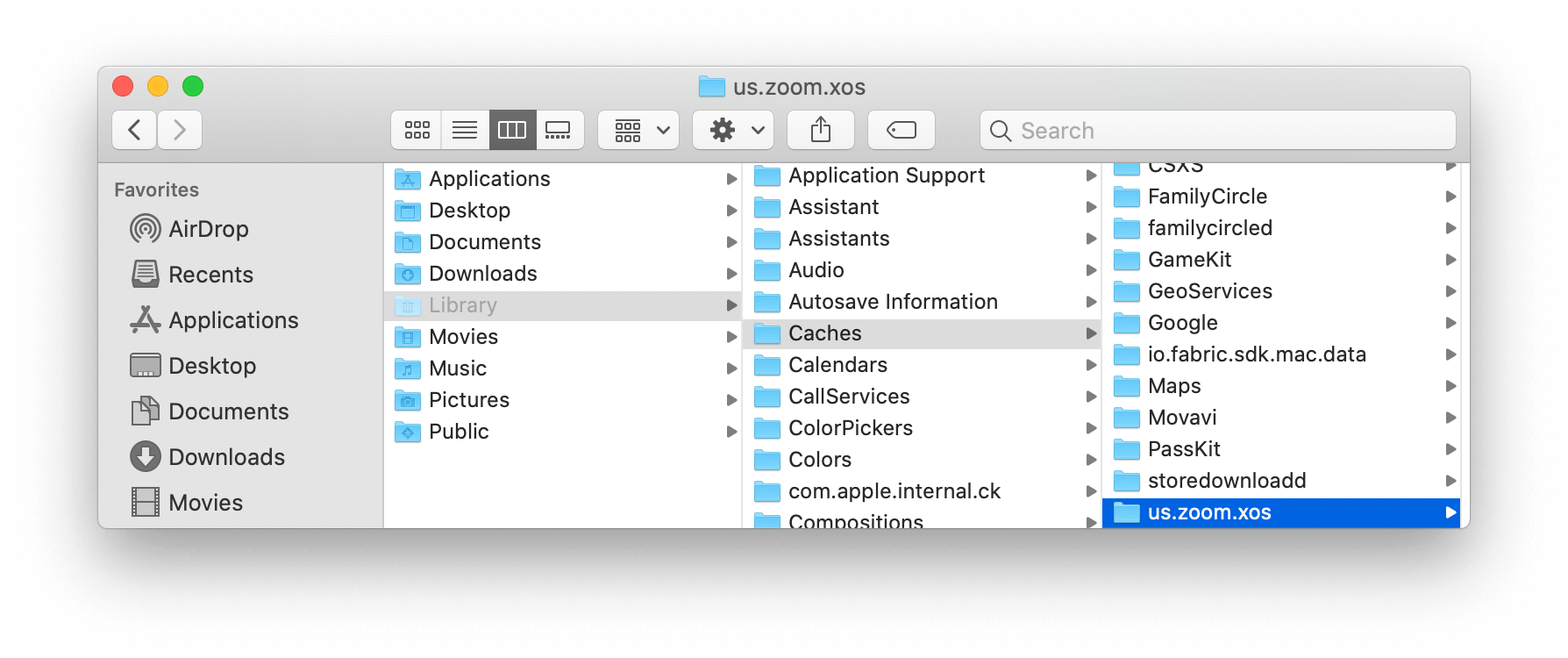 zoom caches in Finder