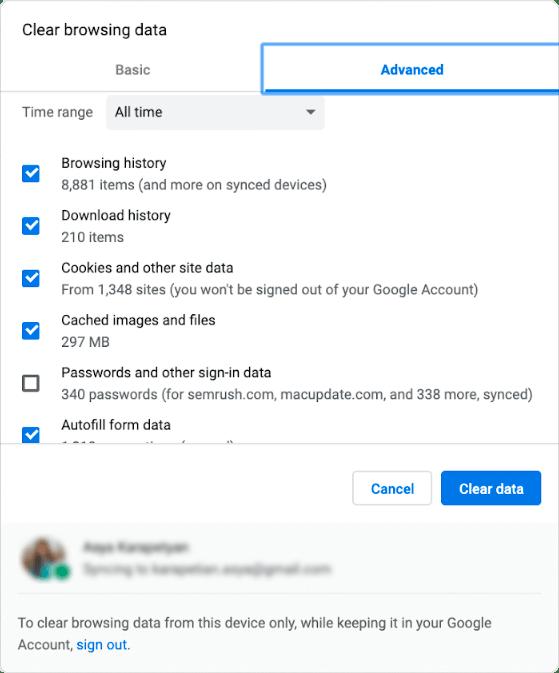 clearing browser data window - Advanced tab