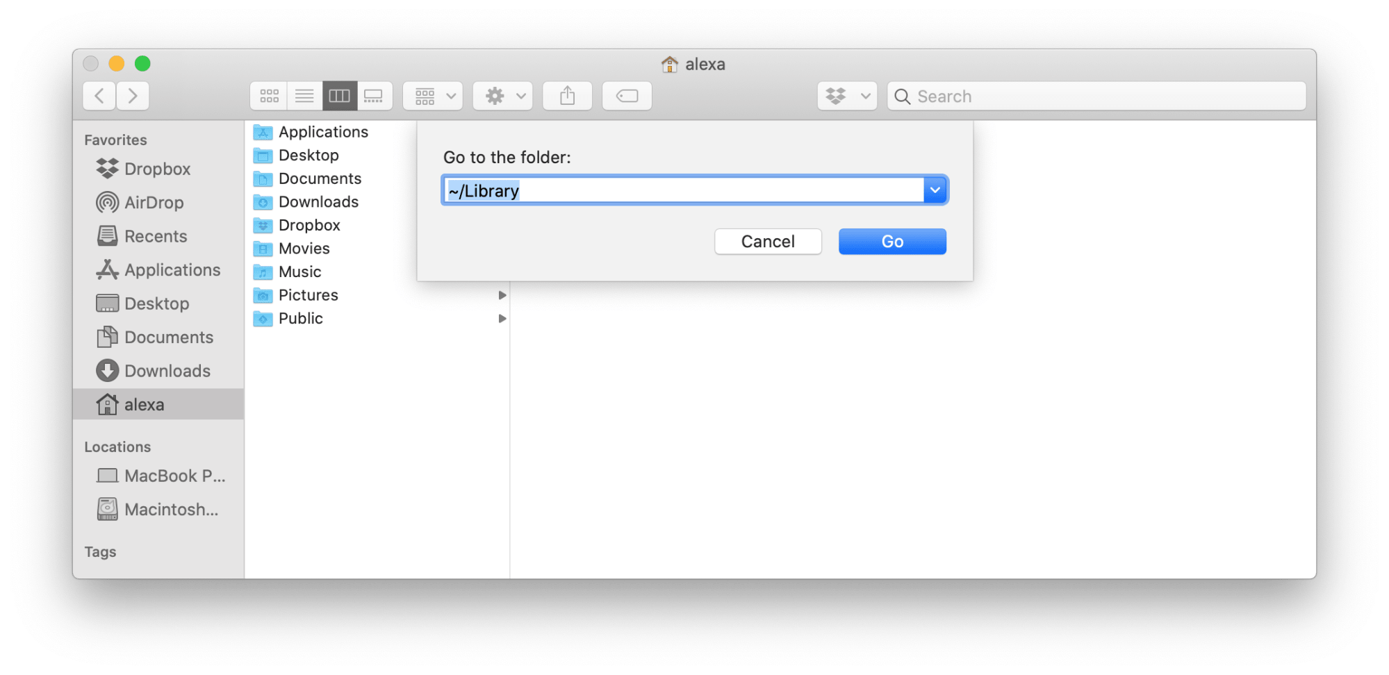 go to Folder in Finder - Library location