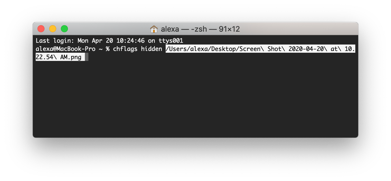Terminal command to hide files
