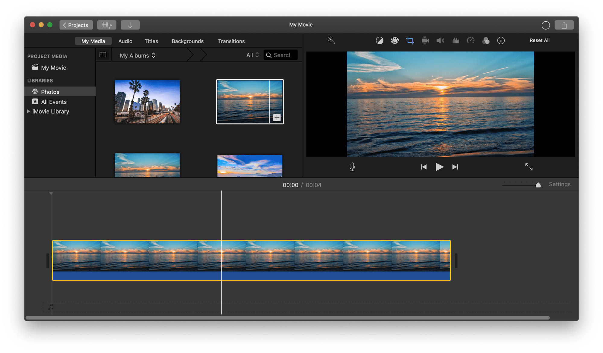 iMovie application window