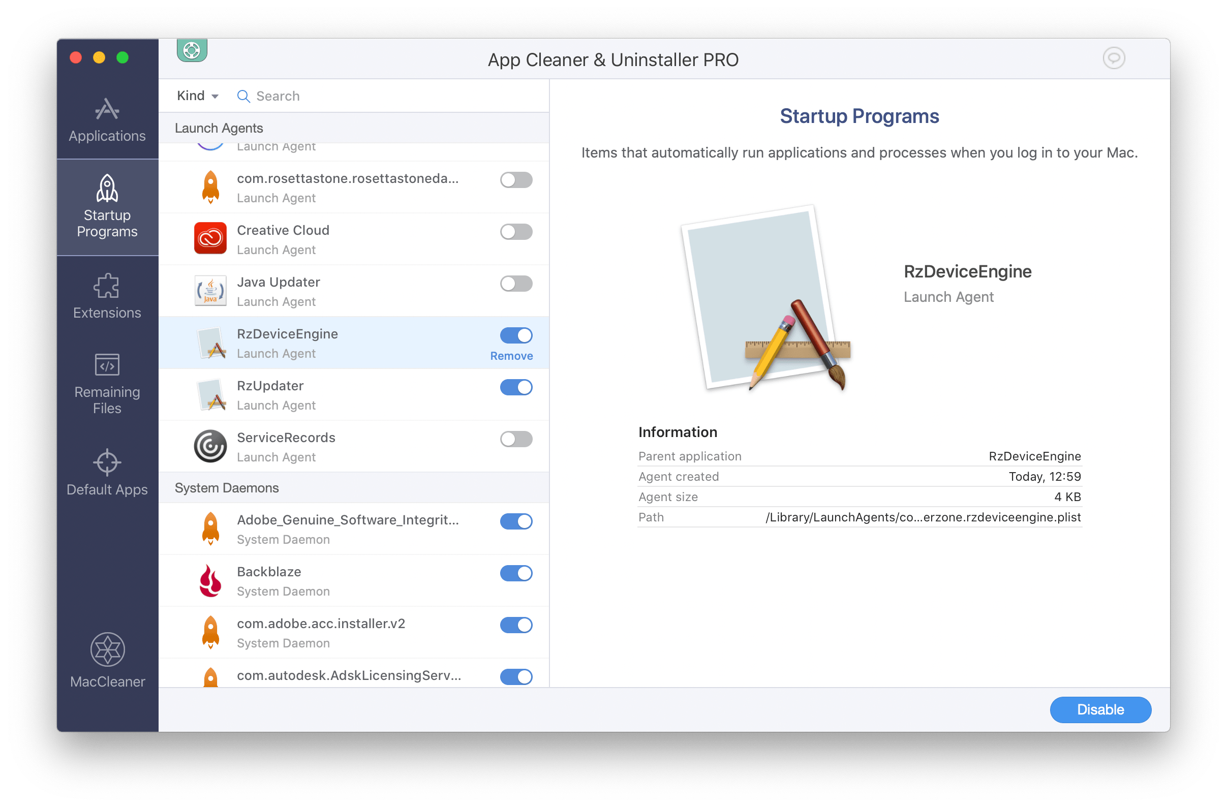 App Cleaner & Uninstaller window showing Startup Programs tab