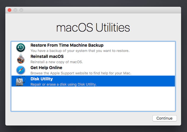 MacOS Utilities window in recovery mode
