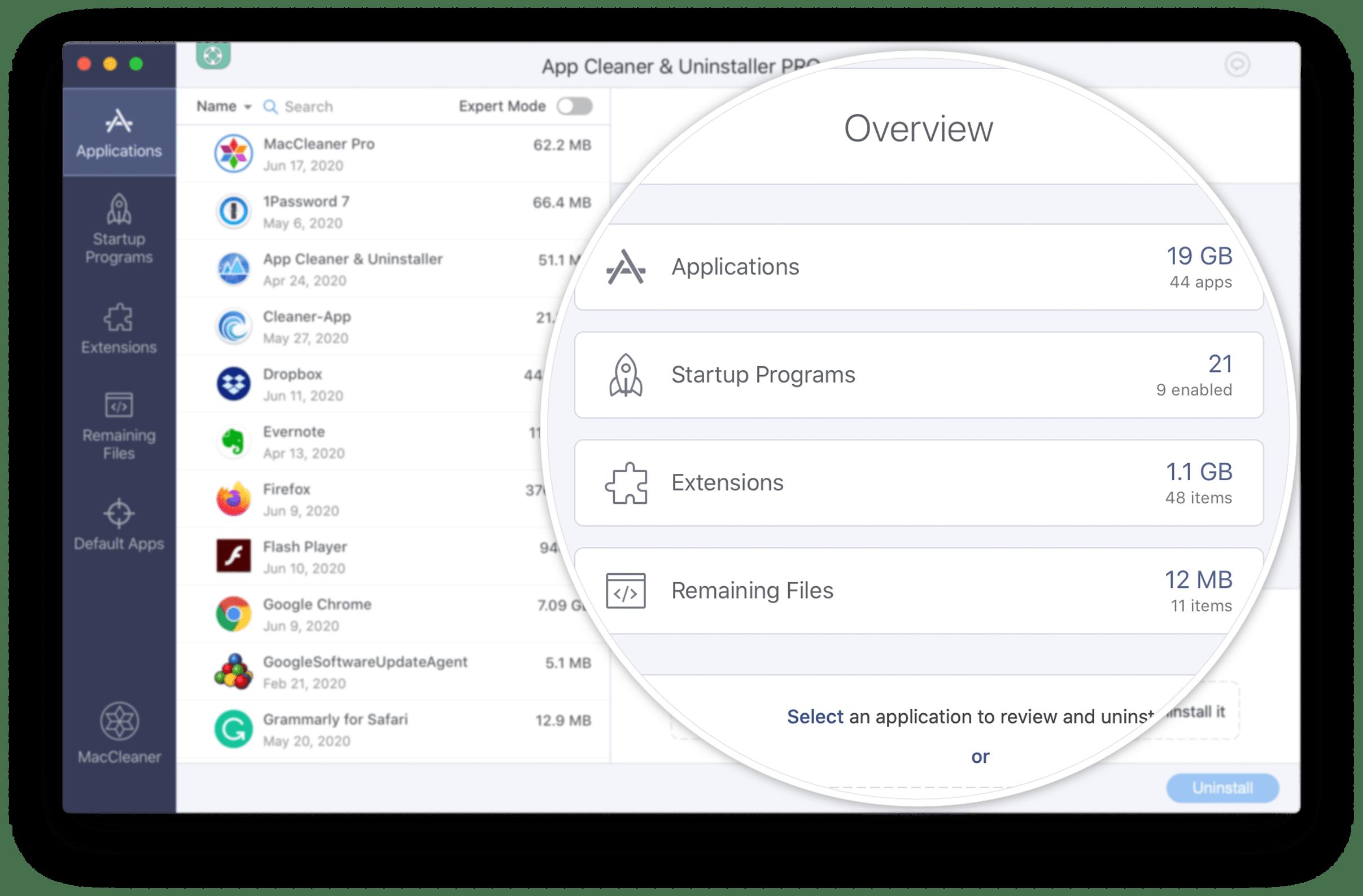 App Cleaner & Uninstaller application - Overview window