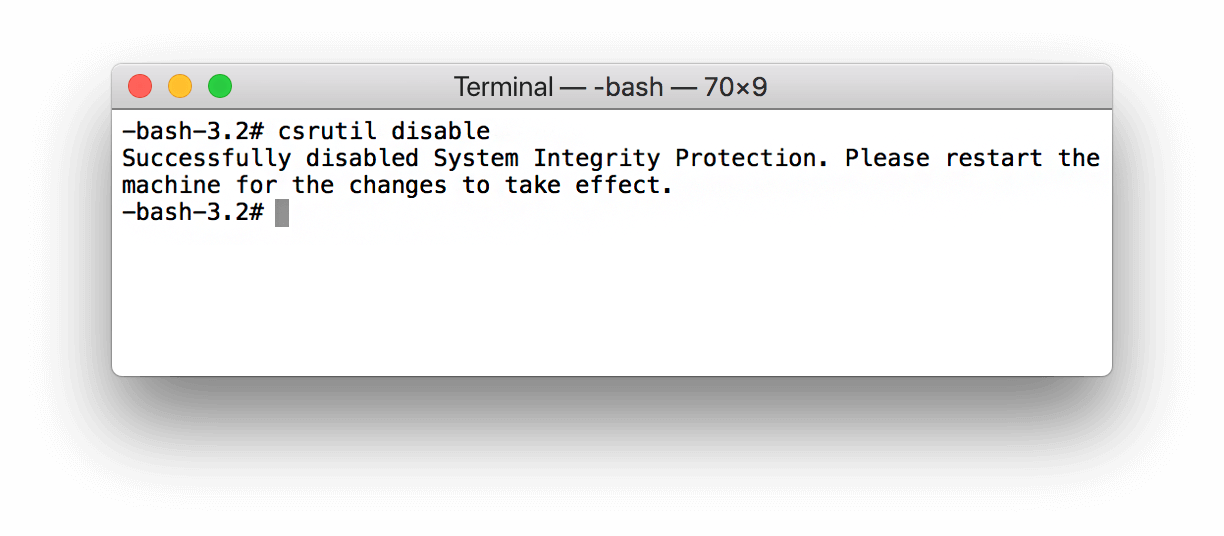 terminal-command to disable sip