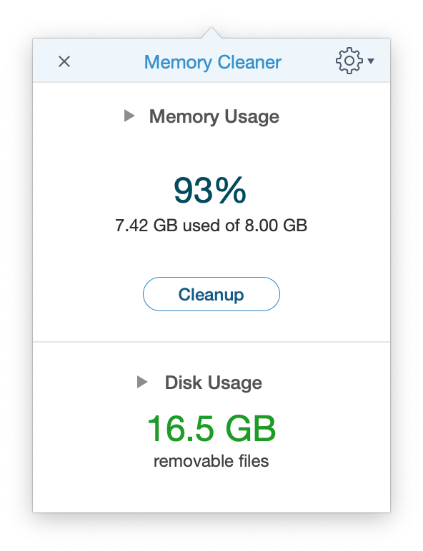 Memory Cleaner application window